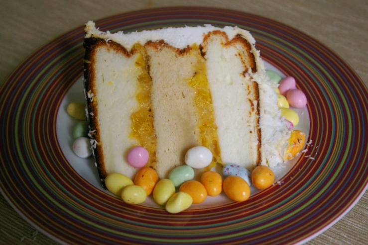 slice easter coconut cake
