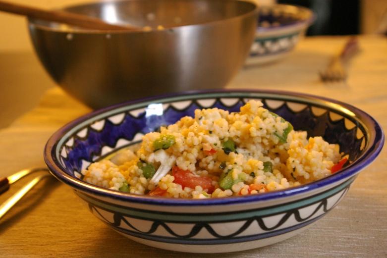 assiette de couscous echalote coriandre